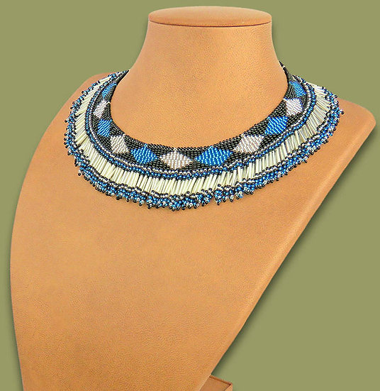 Beaded Thandi collar necklace (Silver/Blue/Black)