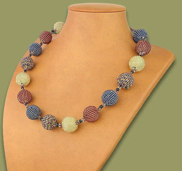 Beaded Bobble necklace (Copper/Metallic/LightGold)