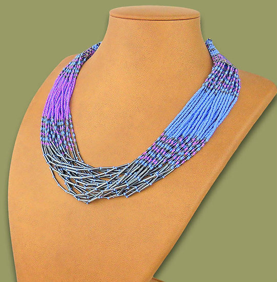 Beaded Multi-Layer Necklace (Lilac/Blue/Metallic)