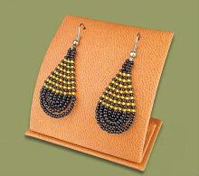 Beaded African teardrops (Black/Gold)