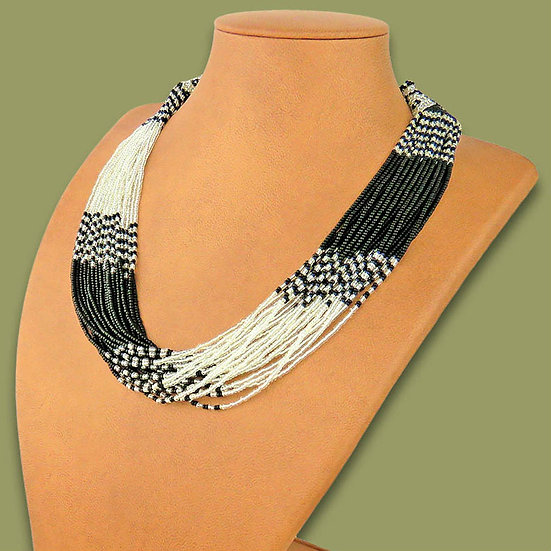 Beaded Multi-Layer Necklace (Silver/Black)