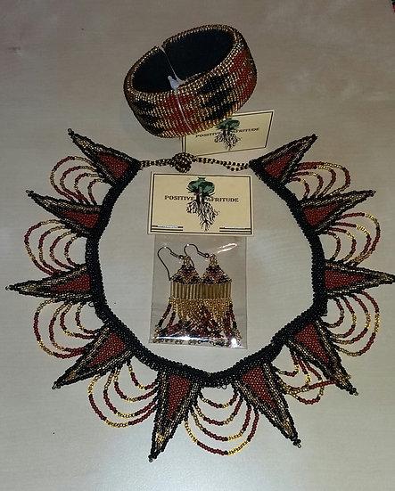 Spear necklace, Diva tassel & Bangle (Br/Blk/Gold)
