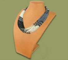 Beaded MultiLayer Necklace (Black/Silver/Metallic)