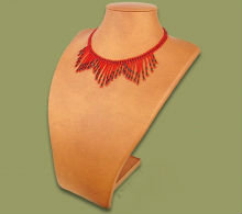 Beaded wide fringe necklace (Red/Black)