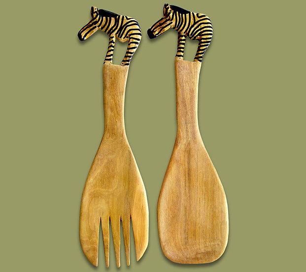 Salad servers with zebra handle