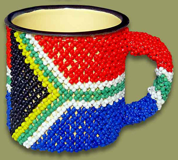 Beaded tin mug (South Africa)