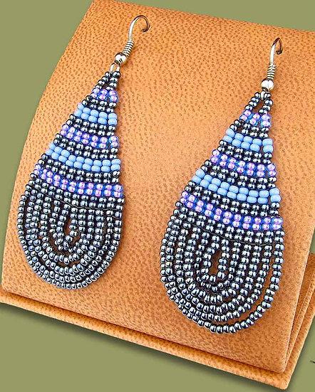 Beaded African teardrops (Metallic/Lilac/Blue)