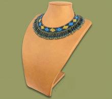 Beaded Thandi collar necklace (Blue/Gold/Black)