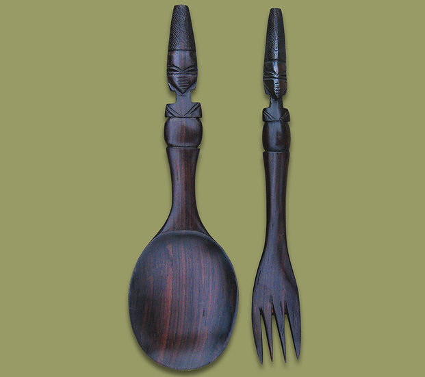 Hand Carved Ebony Salad servers