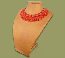 Beaded Thandi collar necklace (Orange/Cherry/Pink)