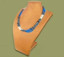 Beaded Mvovo necklace (Blue/Silver/Black)