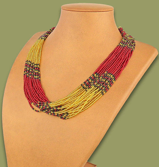 Beaded Multi-Layer Necklace (Red/Gold/Black)