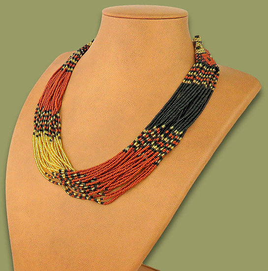 Beaded Multi-Layer Necklace (Brown/Gold/Black)
