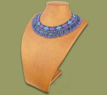 Beaded Thandi necklace (Blue/Lilac/Metallic)