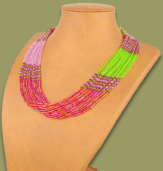 Beaded Multi-Layer Necklace (Watermelon)