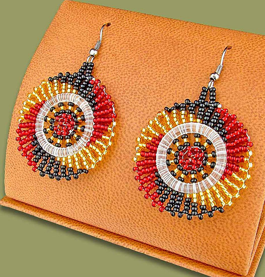 Beaded circles (Red/Gold/Black)