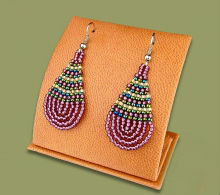 Beaded African teardrop (S) (Mauve/Beige/Metallic)