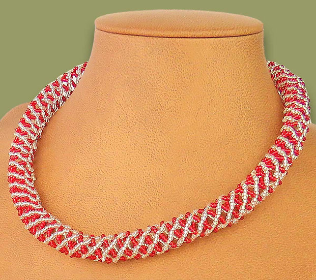 Beaded Imbobo necklace (Silver/Red)