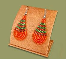 Beaded African teardrop (S) Orange/Green/Metallic