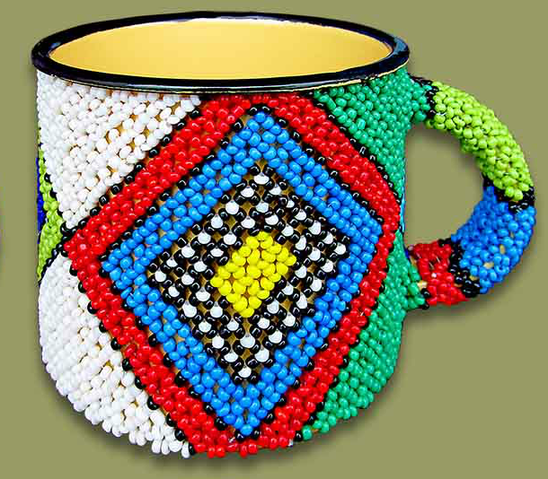 Beaded tin mug (Diamonds)