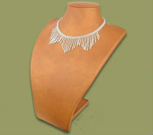 Beaded wide fringe necklace (White)