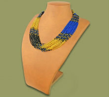 Beaded Multi-Layer Necklace (Gold/Black/Blue)