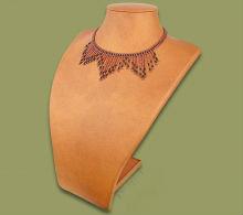 Beaded wide fringe necklace (Copper/Black)