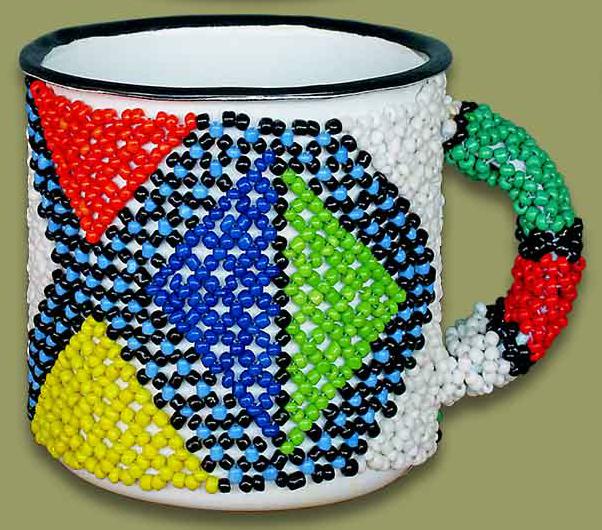 Beaded tin mug (Triangles)