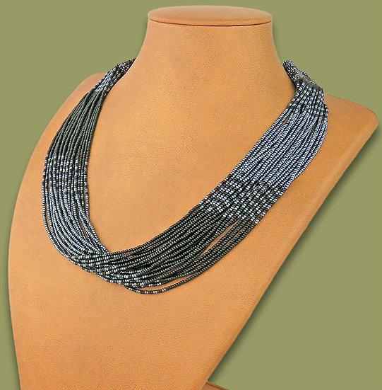Beaded Multi-Layer Necklace (Black/Metallic)