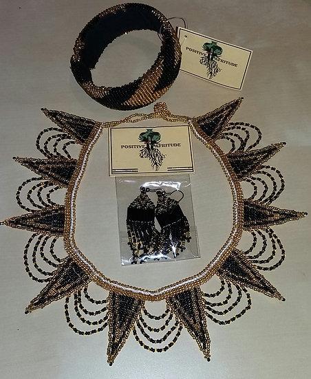 Spear necklace, Diva tassel & Bangle (Black/Gold)