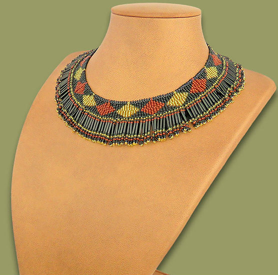 Beaded Thandi collar necklace (Black/Brown/Gold)