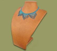Beaded wide fringe necklace (Light blue/Black)
