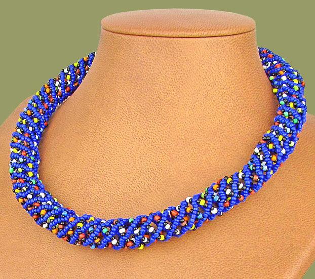 Beaded Imbobo necklace (Blue/Mixed colours)