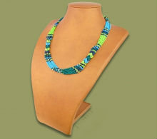Beaded Mvovo necklace (Lime/Navy/Blue/Jade)