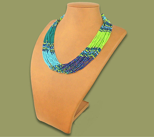 Beaded Multi-Layer Necklace (Lime/Navy/Blue/Jade)