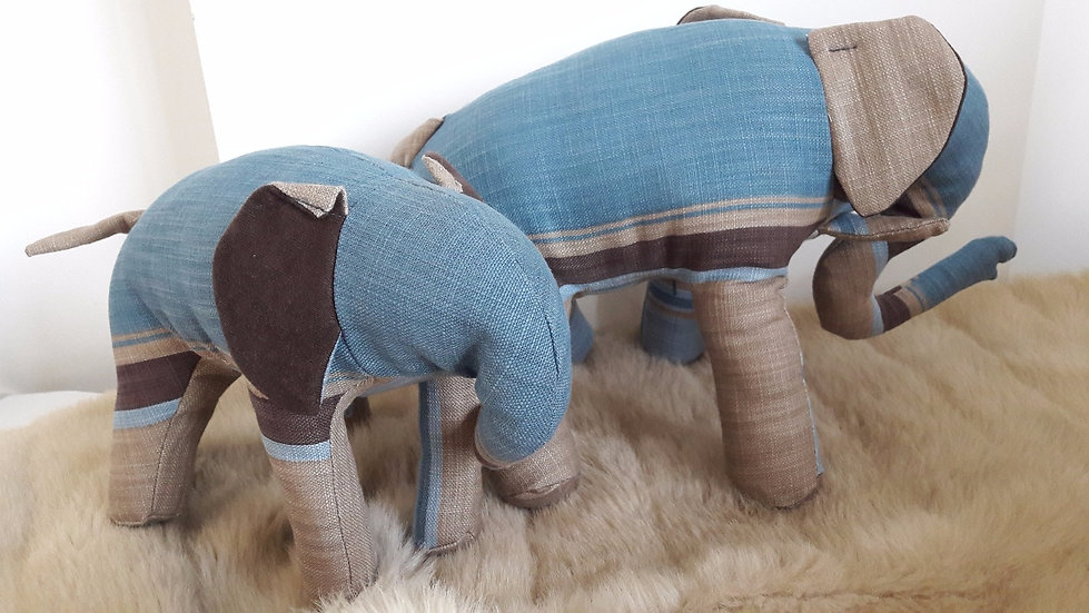 Patterned Eles in Blue, beige, brown