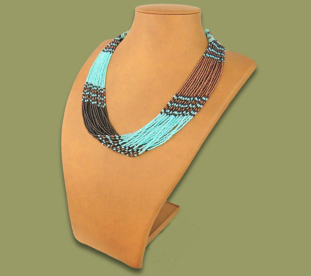 Beaded Multi-Layer Necklace (Lt blue/Copper/Black)