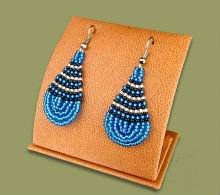 Beaded African teardrops (Blue/Black/Gold)