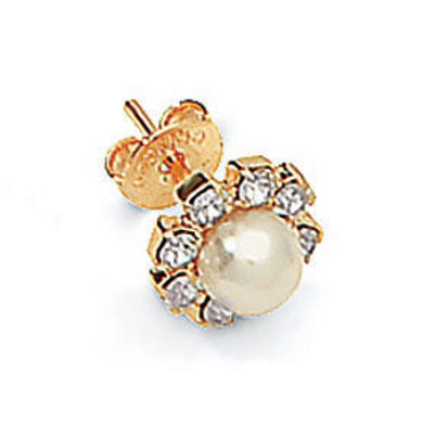 Stud crystal earring with a center pearl