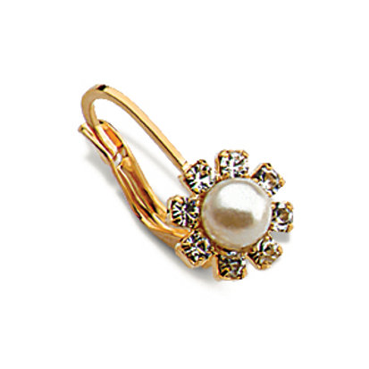 Flower pear crystal earring
