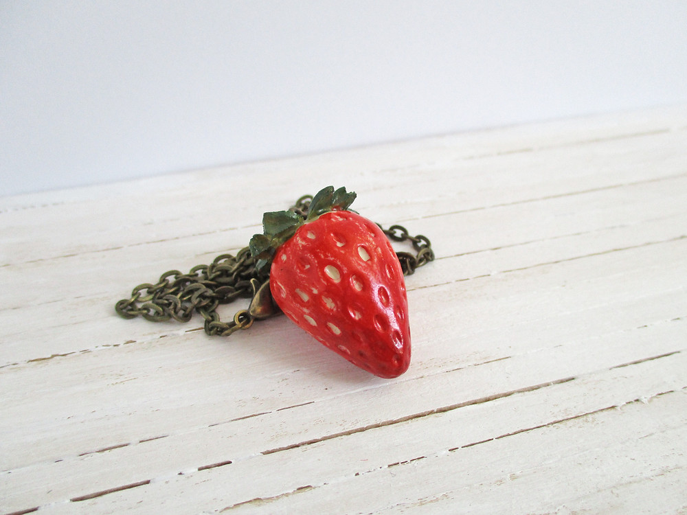British Summer Collection: Retro Strawberry Necklace