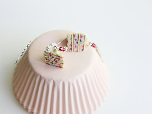 confetti cake earrings, cake jewelry, food jewelry,polymer clay cake,fimo cake,food charms