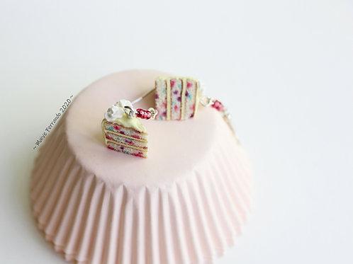 confetti cake earrings, cake jewelry, food jewelry,polymer clay cake,fimo cake,food charms