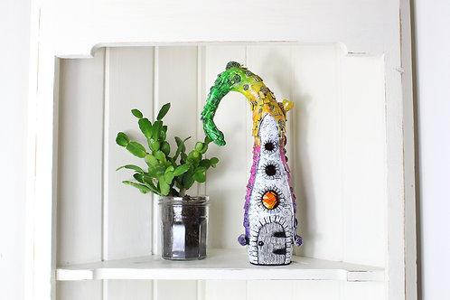 Fairy Mushroom House On Glass Bottle