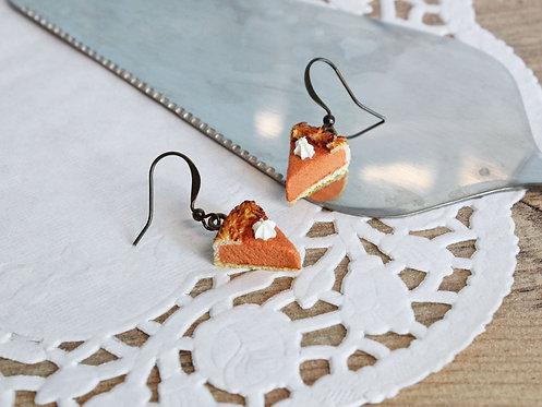 pumpkin pie earrings, food jewelry, polymer clay food, fimo food, polymer clay jewellery, miniature food, miniatures