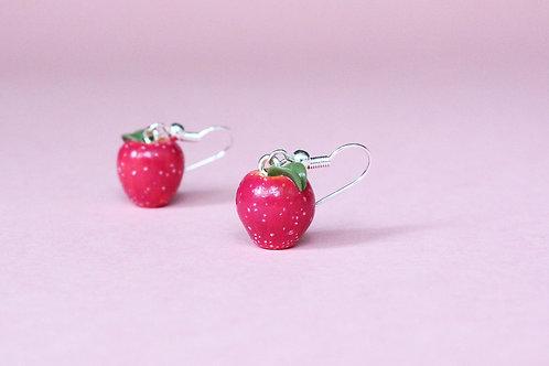apple earrings, apple jewelry, polymer clay apples, fimo apples, food jewelry, fruit jewelry, fimo apple earrings, handmade