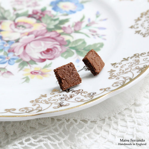 brownie earrings,cake earrings,food earrings,food jewelry,miniature food jewelry,ooak jewelry,minimalist jewelry