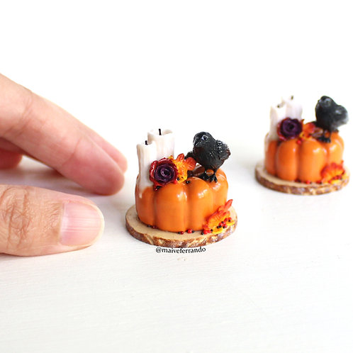 miniature pumpkin cake, halloween cake,miniature food,polymer clay food,dolls house food,miniatures, halloween cake,pumpkin