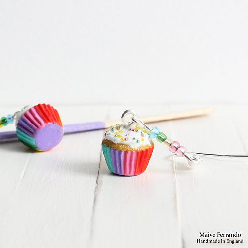 Rainbow Cupcake Earrings