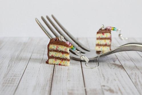 confetti cake earrings,food earrings,food jewelry,chocolate cake earrings,dessert earrings,polymer clay earrings,fimo earring